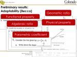 preliminary results adaptability becca
