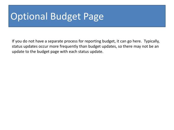Optional budget page