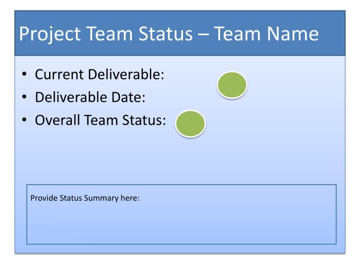 Project Team Status – Team Name