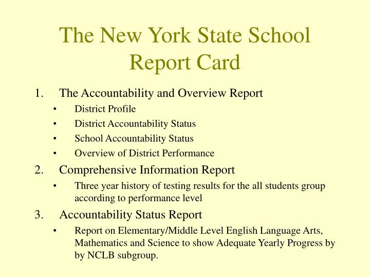 The New York State School Report Card