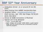 bbf 50 th year anniversary