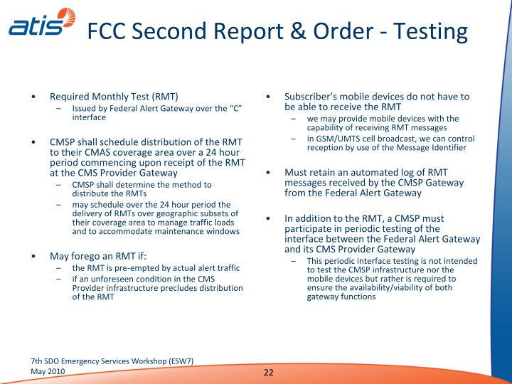 FCC Second Report & Order - Testing