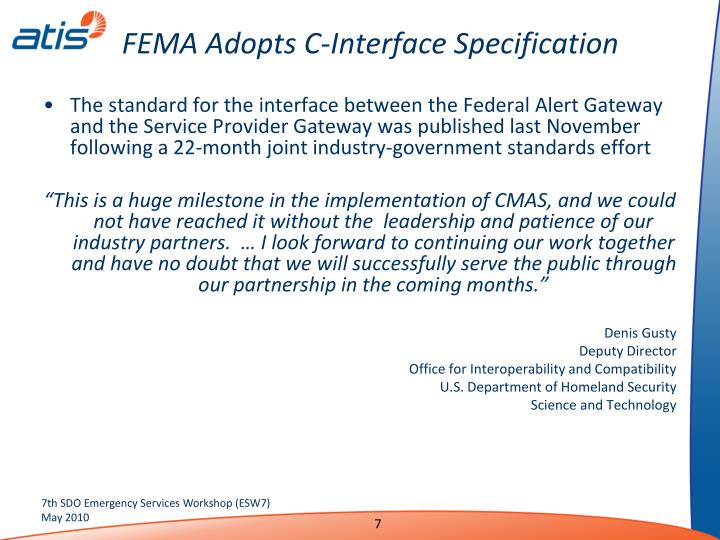 FEMA Adopts C-Interface Specification