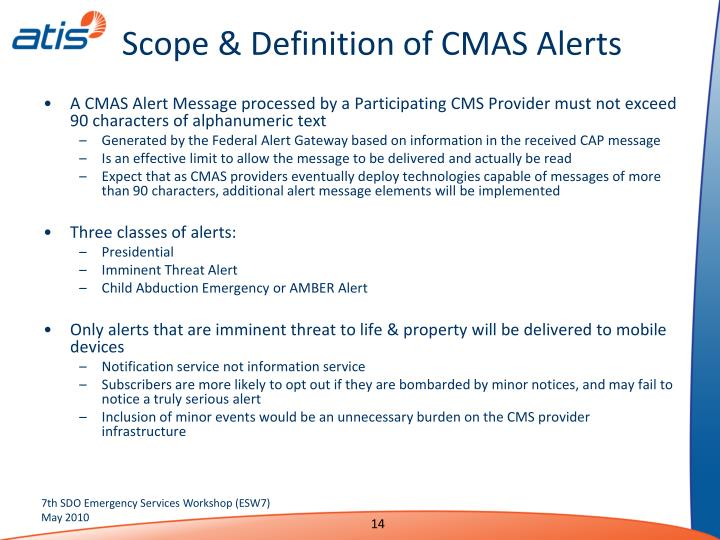 Scope & Definition of CMAS Alerts