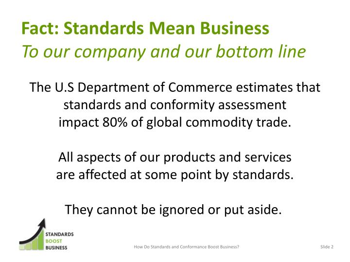 Fact standards mean business to our company and our bottom line