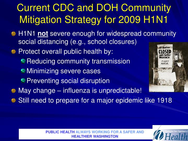 Current CDC and DOH Community Mitigation Strategy for 2009 H1N1