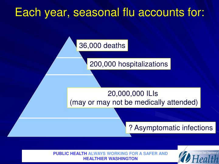 Each year, seasonal flu accounts for: