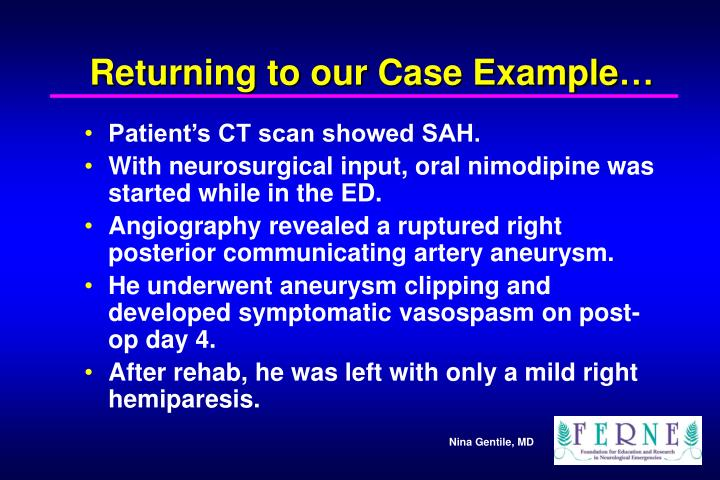 Returning to our Case Example…
