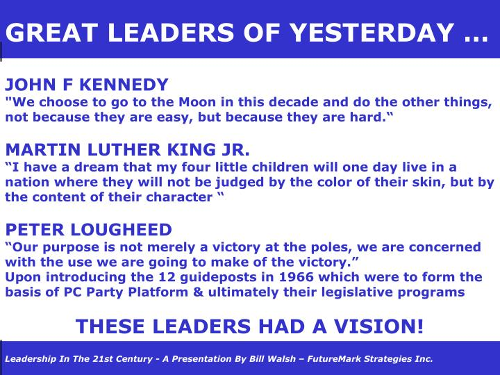 GREAT LEADERS OF YESTERDAY …