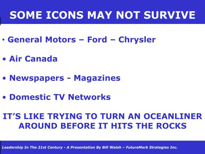 SOME ICONS MAY NOT SURVIVE
