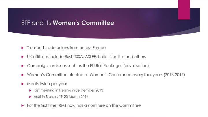 Etf and its women s committee