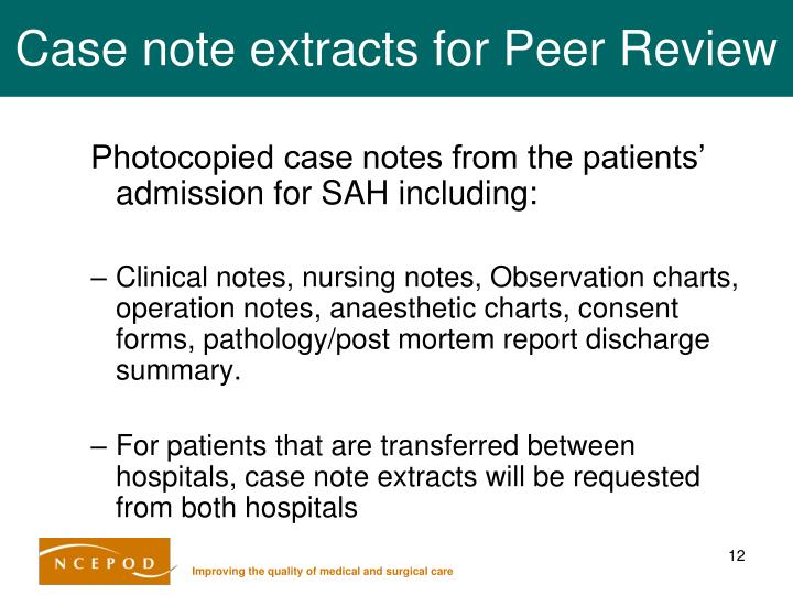 Case note extracts for Peer Review