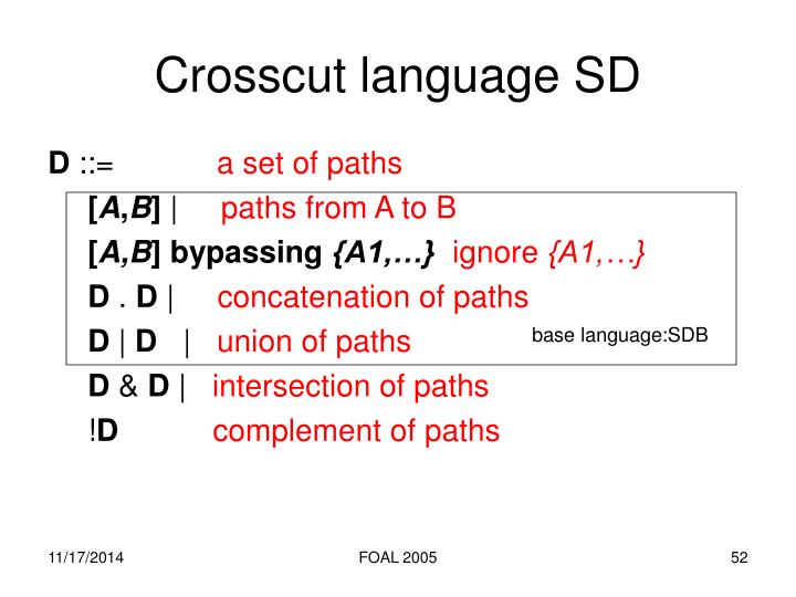 Crosscut language SD