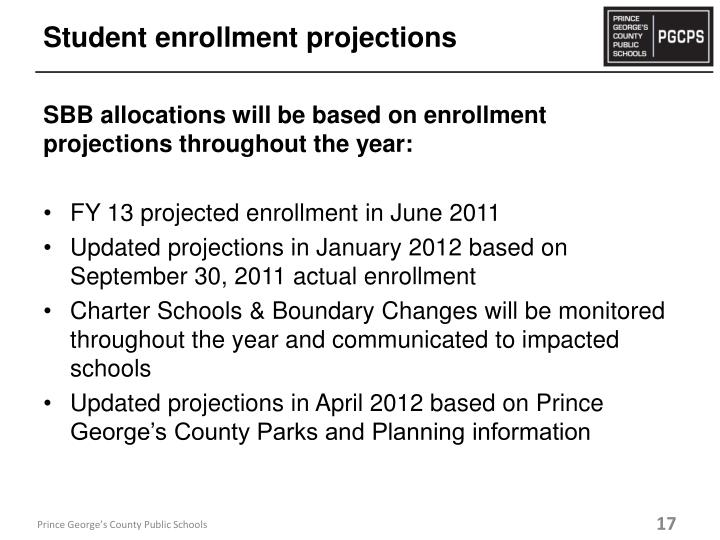 Student enrollment projections