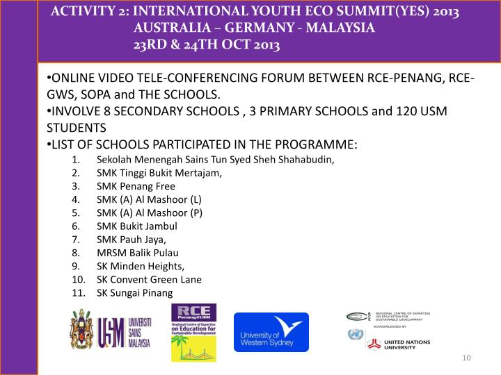 ONLINE VIDEO TELE-CONFERENCING FORUM BETWEEN RCE-PENANG, RCE-GWS, SOPA and THE SCHOOLS.