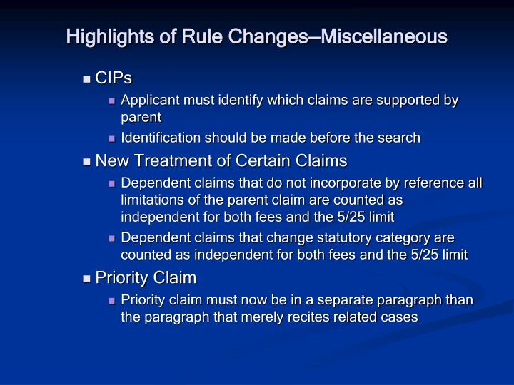 Highlights of Rule Changes—Miscellaneous