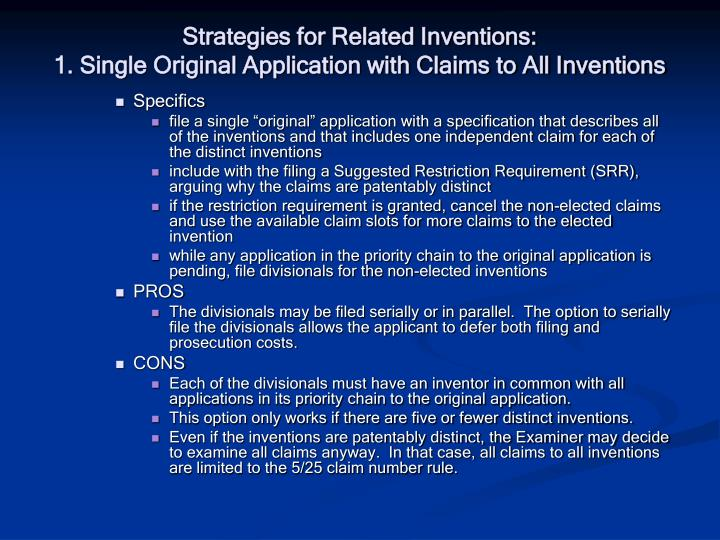 Strategies for Related Inventions: