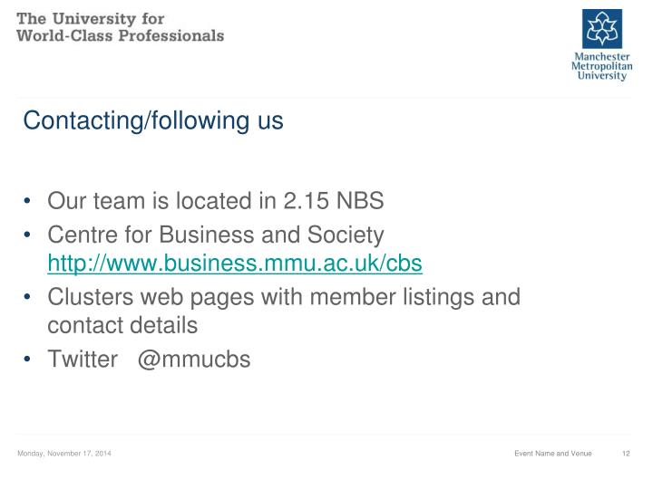 Contacting/following us