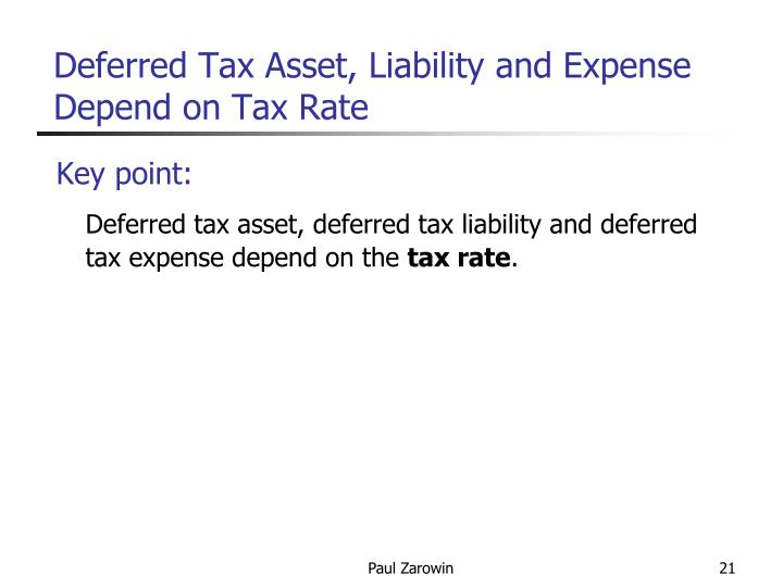 Deferred Tax Asset, Liability and Expense Depend on Tax Rate