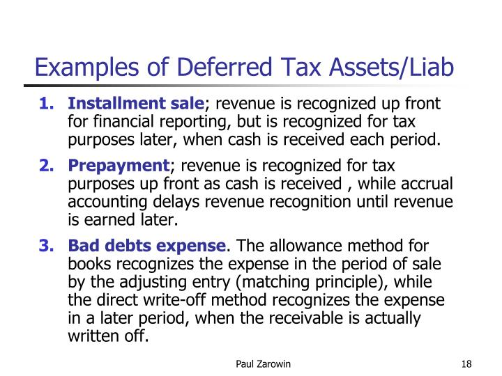 Examples of Deferred Tax Assets/Liab