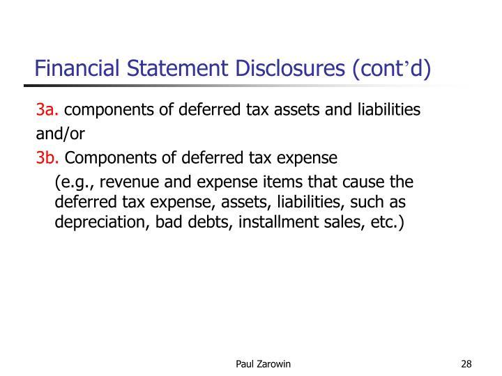 Financial Statement Disclosures (cont