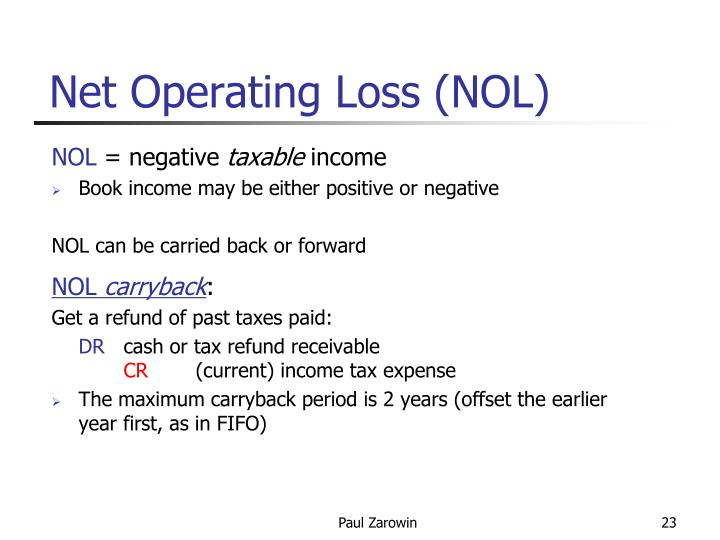 Net Operating Loss (NOL)