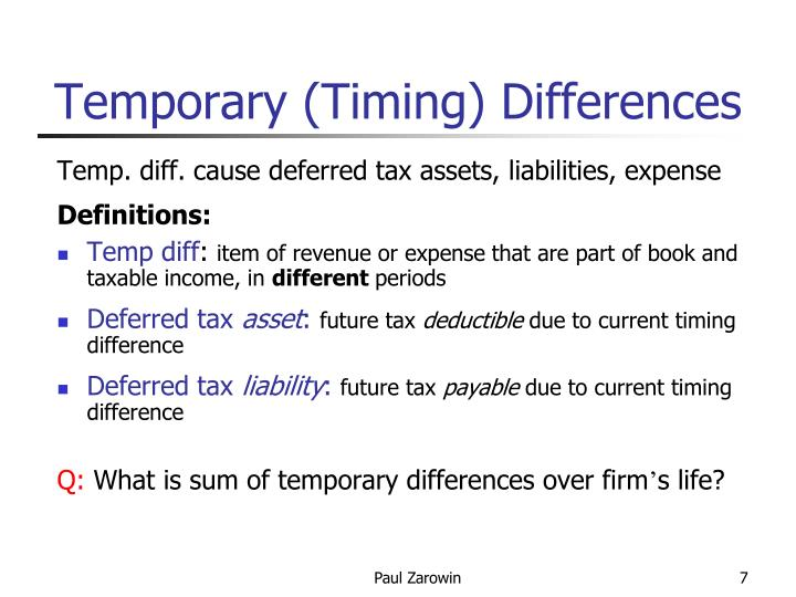 Temporary (Timing) Differences