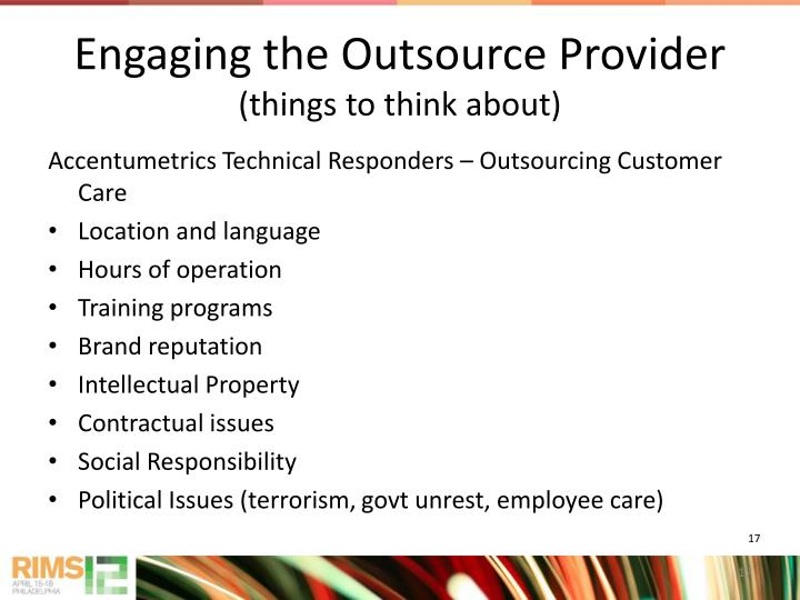 Engaging the Outsource Provider