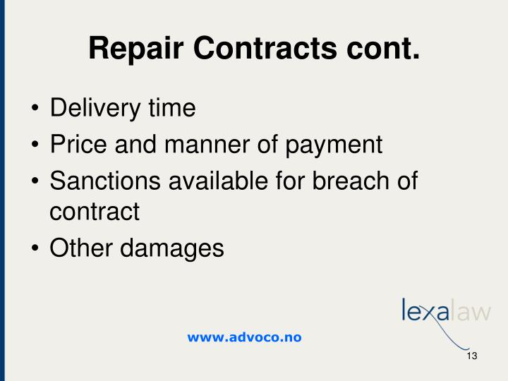 Repair Contracts cont.
