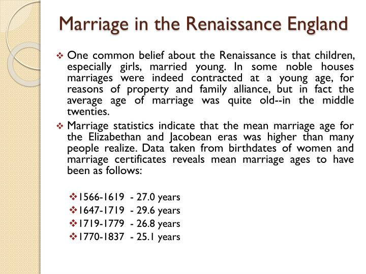 Marriage in the Renaissance England