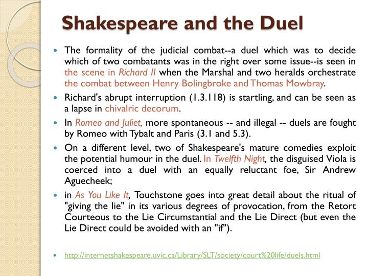 Shakespeare and the Duel