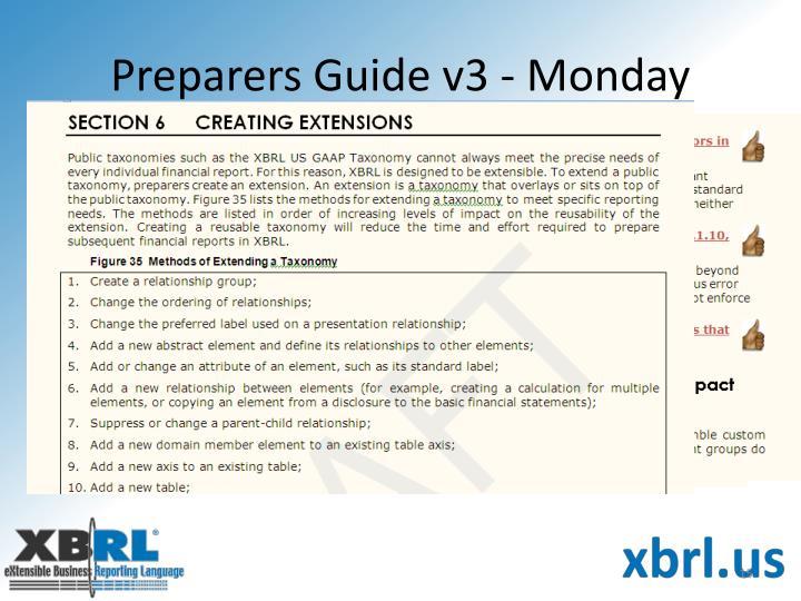 Preparers Guide v3 - Monday