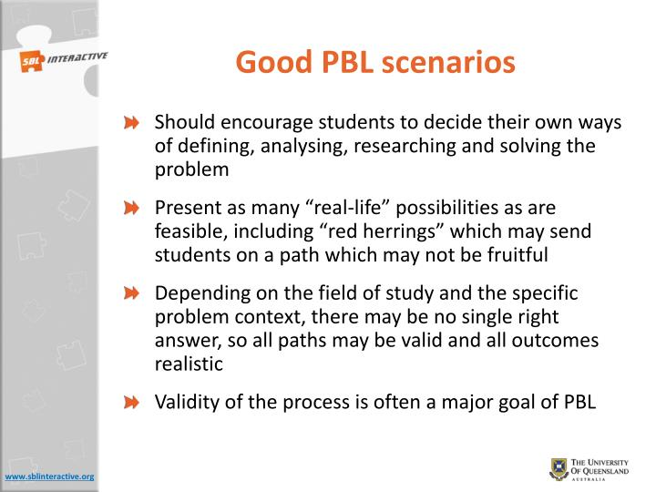 Good PBL scenarios