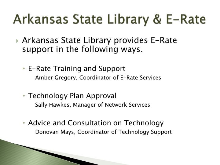 Arkansas state library e rate