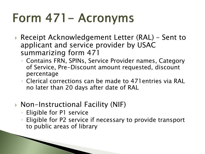 Form 471- Acronyms