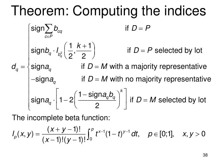 Theorem: Computing the indices