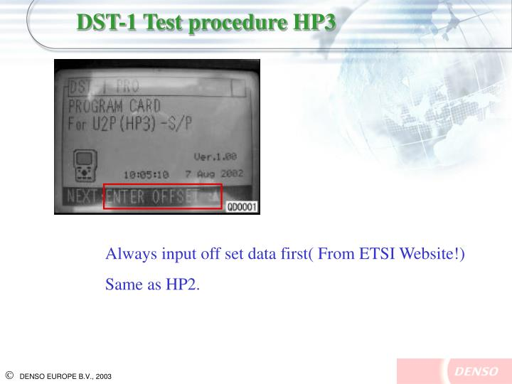 DST-1 Test procedure HP3