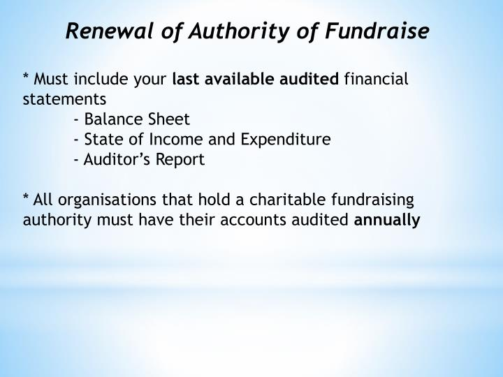 Renewal of Authority of Fundraise