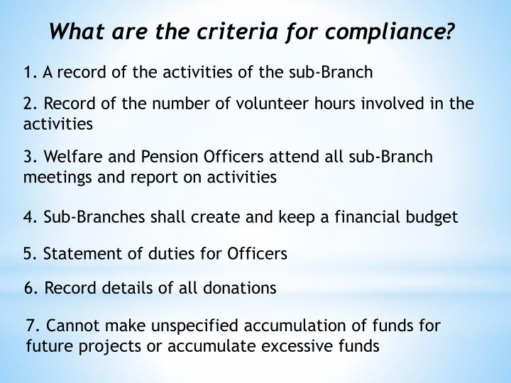 What are the criteria for compliance?