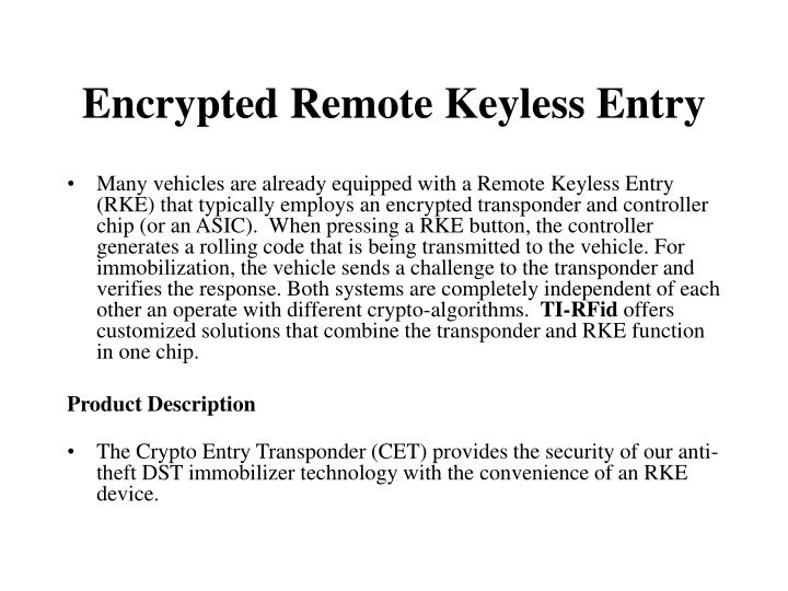 Encrypted Remote Keyless Entry