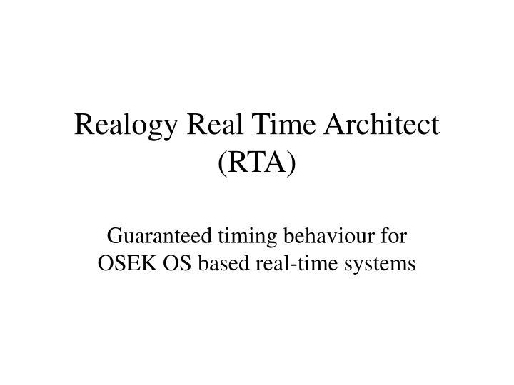 Realogy Real Time Architect (RTA)