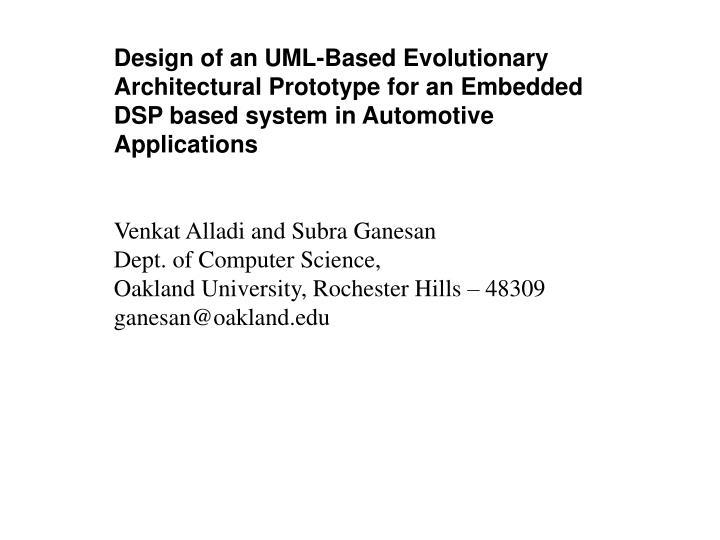 Design of an UML-Based Evolutionary