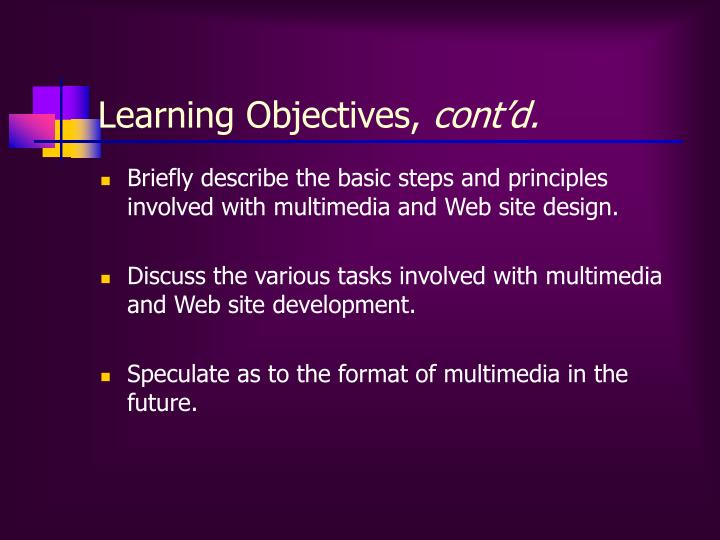 Learning Objectives,