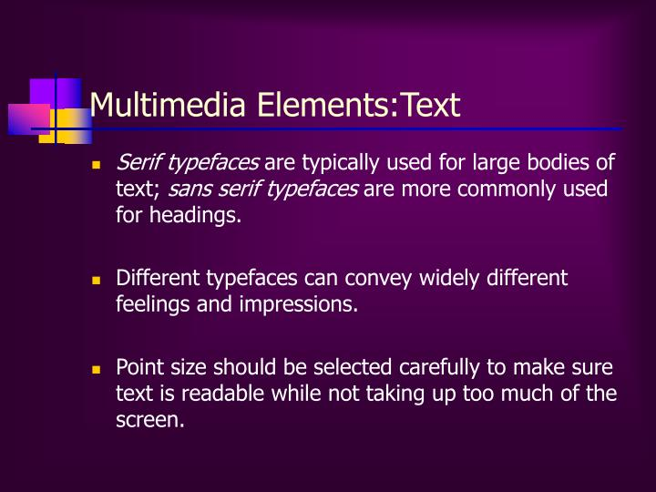 Multimedia Elements:Text