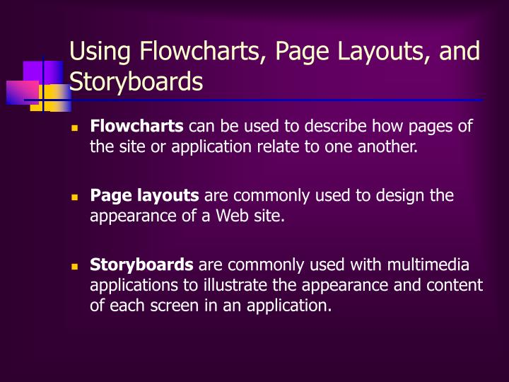 Using Flowcharts, Page Layouts, and Storyboards