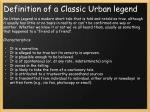 definition of a classic urban legend