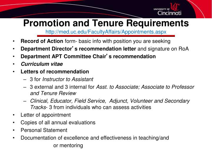 Promotion and Tenure Requirements