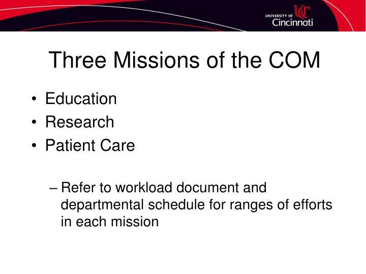 Three Missions of the COM