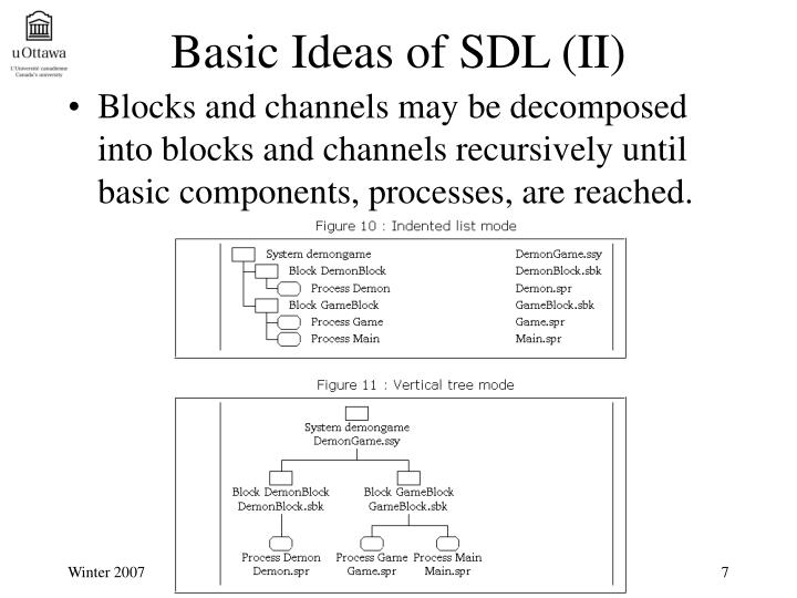 Blocks and channels may be decomposed into blocks and channels recursively until basic components, processes, are reached.