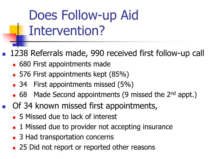 Does Follow-up Aid Intervention?